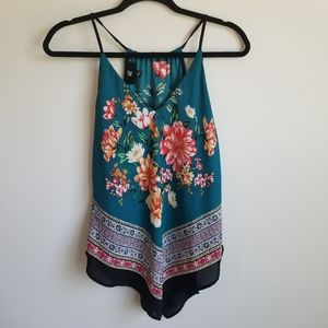 Teal Floral handkerchief style tank